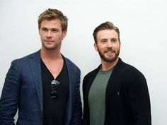 Chris Hemsworth and Chris Evans at the 'Avengers Age of Ultron' Press Conference at Walt Disney Studios on April 11 2015 in Burbank California