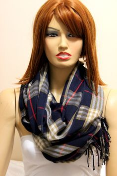Navy blue plaid infinity scarf. Unisex scarf. Men by oceanscarf, $18.90