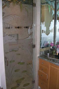 Shop frosted glass doors and other etched glass products like interior, pantry, and shower doors, decorative windows & tables. Design your frosted glass product from hundreds of options today! Frosted Glass Door, Custom Shower, Glass Shower Doors, Shower Enclosure, Glass Etching, Showers, Glass Art, Custom Design, Landscape