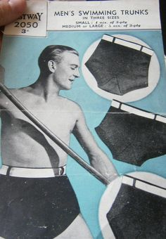 vintage mans swimming trunks knitting pattern by ANGELSTITCHING on Etsy