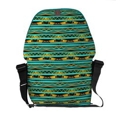 Turqoise Stripes and Gold Bars Tribal design Courier Bags