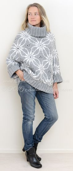 Polar Star Crochet Poncho Sweater Pattern is published. 106!!! step-by-step pictures, charts and schematics, written instructions to make it easy to follow for everybody! Follow link in the profile, go to tops&skirts http://www.outstandingcrochet.com/poncho-sweater-crochet-pattern-star #crochetsweater #crochetponcho #crochetpattern !