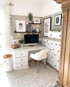 88 unusual small home office design ideas for cozy work 20 Bedroom Desk, Gray Bedroom, Trendy Bedroom, Home Decor Bedroom, Bedroom Modern, Simple Bedrooms, Girl Bedrooms, White Desk For Bedroom, Bedroom Ideas Grey