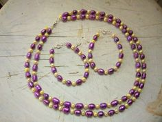 lovely bracelet & earring set of purple & yellow freshwater pearls handmade by @ThreadedChains on Etsy