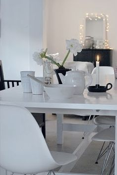 Scandinavian clean style works great with white dining set