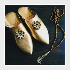 Gold Leather Babouche slippers handmade in Marrakech, Morocco
