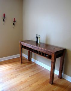 Console Table With Wine Rack   Rustic Elements Furniture