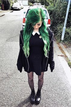 Long wavy hair with dark green dye by _frolleinwunder__
