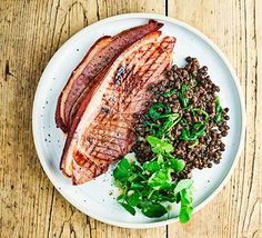 Rustle up this gluten-free meal of gammon with nutritious watercress and lentils using just four ingredients. It's quick and easy but nicely filling Ham Recipes, Bbc Good Food Recipes, Gluten Free Recipes, Dinner Recipes, Healthy Recipes, Recipies, Gammon Steak, Latest Recipe, Food Categories