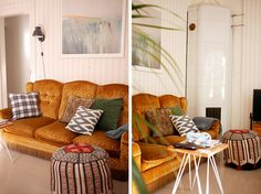 I love our yellow vintage couch in our living room. tuulinenpaiva.fi