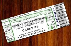 Concert Ticket Escort Card - http://www.toptableplanner.com/blog/a-wedding-table-plan-that-is-music-to-your-ears