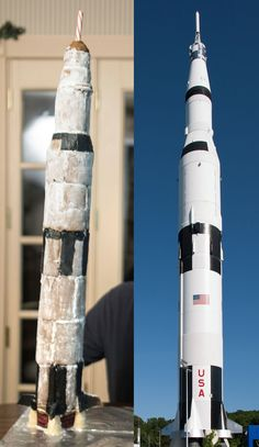 A 1/109 Scale Model of the Saturn V Rocket, Made of Gingerbread