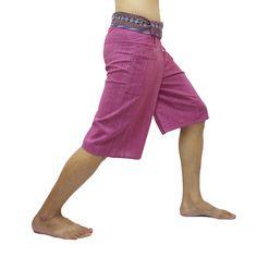 Violet Thai Fisherman Pants Short 3/4 with Thai hand woven fabric on waist side, Wide Leg pants, Wrap pants, Unisex pants   $22.00 Free shipping