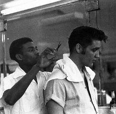 Elvis getting a hair cut