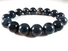 Dumortierite Stretch Bracelet 12mm Smooth Round Polished Blue High Quality…