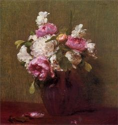 Henri Fantin-Latour White Peonies and Roses Narcissus oil painting for sale; Select your favorite Henri Fantin-Latour White Peonies and Roses Narcissus painting on canvas or frame at discount price. Henri Fantin Latour, Art Floral, Creation Art, Still Life Flowers, Plant Drawing, White Peonies, Oil Painting Reproductions, Oeuvre D'art, Flower Art