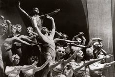 The Ballet Russe de Monte Carlo, a Ballets Russes offshoot founded in 1932 by Leonide Massine, performing the choreographer's Rouge et noir, with scenery and costumes by Henri Matisse, in 1939.