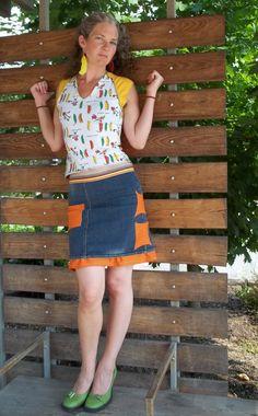 Sweet pea baseball T with denim aline skirt in hip hop summer colors