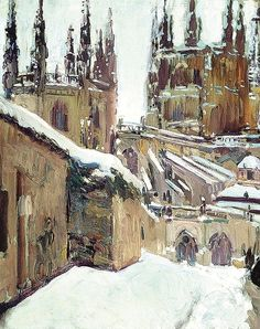 Snow, Building, Painting, Travel, Outdoor, Cathedrals, Google, House, Earth