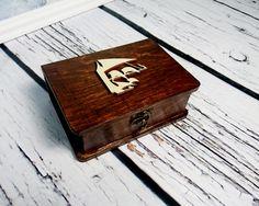 Wedding rings box/engagement ring box book shaped, vintage marine sail ship wedding pillow rustic looking old jute burlap shabby chic - pinned by pin4etsy.com