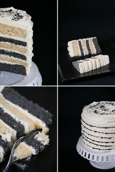 Black and White cake with Vanilla and black sesame layers and ginger frosting.  I made this for my birthday and it was incredible.  You can make your own sesame seed paste by grinding sesame seeds in the blender and adding honey and/or oil.  It kind of tastes like a peanutbutter cake.  It's really good. If you use his coconut frosting recipe use one and a half recipes to cover the whole cake.