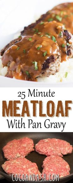 Skillet Meatloaf with Pan Gravy This quick and easy meatloaf recipe is perfect for those weeknight meals! It only takes 25 minutes and has an amazing pan gravy! Quick Easy Meatloaf Recipe, Meat Loaf Recipe Easy, Meatloaf Recipes, Meatloaf Pan, Easy Meals With Hamburger Meat, Meatloaf With Gravy, Quick Beef Recipes, Hamburger Steaks, Beef Meals