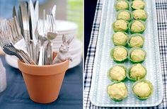 """peter rabbit birthday theme- """"lettuces""""-utensils in pot"""