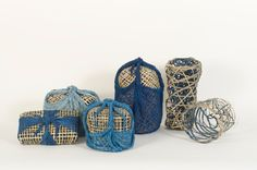 Wrapping Memory (2010) by Barbara Shapiro; indigo dyed plaited cane indigo dyed gauze.