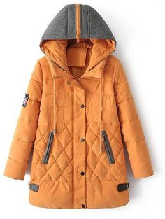 Zippered Drawstring Hoodied Down Coat