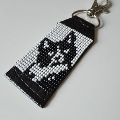 Your place to buy and sell all things handmade Bead Loom Patterns, Beaded Jewelry Patterns, Beading Patterns, Cat Keychain, Leather Keychain, Cat Lover Gifts, Cat Gifts, Cat Lovers, Bead Loom Bracelets