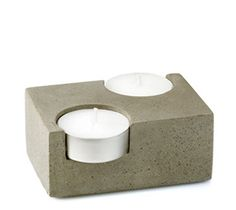 Double Concrete TeaLight Candleholder T2  Free by ceMMentDesigns, $40.00