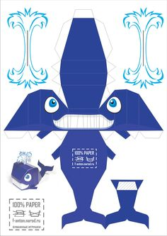 Paper dolls and other paper toys 3d Paper Crafts, Paper Crafts For Kids, Paper Toys, Diy Paper, Foam Crafts, Kirigami, Whale Crafts, 3d Templates, Animal Templates