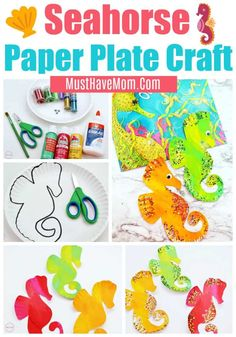 Fun glittery seahorse paper plate crafts for kids! Paper Plate Crafts For Kids, Summer Crafts For Kids, Easy Paper Crafts, Book Crafts, Crafts To Do, Summer Diy, Kids Activities At Home, Craft Activities, Preschool Crafts