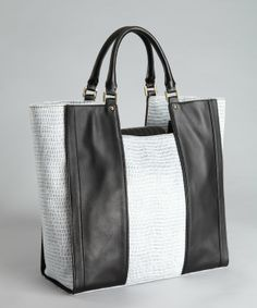 Pour la Victoire : Black, white and blue lizard embossed leather 'Morandi' shopper tote