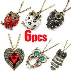 I found '6pcs Wholesales Cute Gothic Vintage Style Red Heart wings Owl Pendant Necklace' on Wish, check it out!