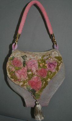 Hand felted handbag  Silk roses  by StewartNatali on Etsy, £115.00