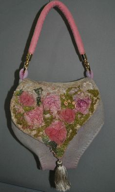 Hand felted handbag  Silk roses  by StewartNatali on Etsy, £115.00