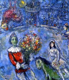 Chagall - I think what I love about his art is the randomness of it all.  Let's have a bride riding a green horse while a chicken floats upside down in the corner.