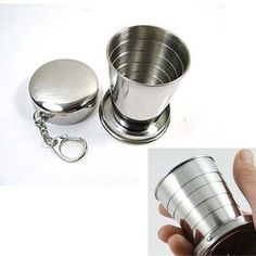 New 75ml Stainless Steel Portable Outdoor Travel Camping Folding Collapsible Cup S Free Shipping Wholesale(China (Mainland))