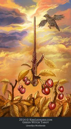 Green Witch Tarot: Ace of Wands - If you love Tarot, visit me at www.WhiteRabbitTarot.com