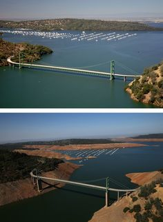 California's drought: What losing 63 trillion gallons of water looks like - The Washington Post Greenbridge at Lake Oroville Lake Oroville, Then And Now Pictures, Water Pollution, Gallon Of Water, Water Resources, Famous Places, Save The Planet, Global Warming, Climate Change