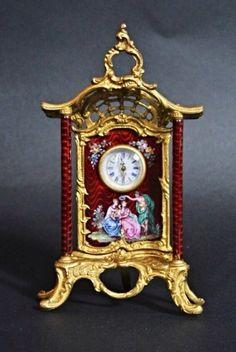 A very fine century Austrian enamel miniature clock , measuring h, wide . Antique Desk, Antique Items, Fine Art Auctions, Desk Clock, Silver Enamel, 19th Century, Art Decor, Miniatures, Antiques