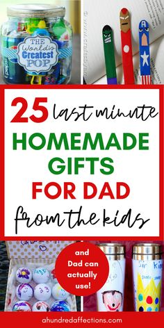 25 Last-Minute Homemade Gifts for Dad from the Kiddos 25 Last-Minute Homemade Gi. 25 Last-Minute Homemade Gifts for Dad from the Kiddos 25 Last-Min. Diy Birthday Gifts For Dad, Valentine Gift For Dad, Last Minute Birthday Gifts, Homemade Fathers Day Gifts, Diy Gifts For Dad, Best Dad Gifts, Diy Gifts For Friends, Easy Diy Gifts, Diy Gifts For Boyfriend