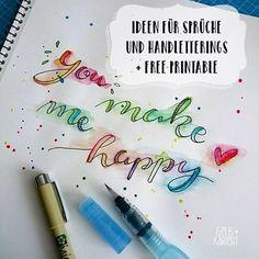 Ideen für Handlettering | Sprüche | Hand Lettering | Printable | DIY | Gelbkariert Blog