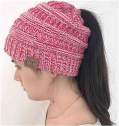 845eead2290 Women BeanieTail Soft Stretch Cable Knit Messy High Bun Ponytail Beanie Hat   fashion  clothing