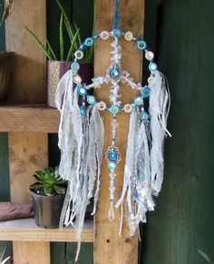 Peace Sign Dream Catcher - Mixed Media Textile Art wall hanging - Bohemian Home Decor - Dream protection - Pagan Gifts
