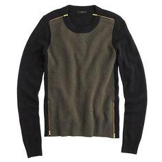 {j crew double zip sweater in colorblock olive}
