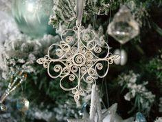 Ornamento fazer Floco de neve Quilled