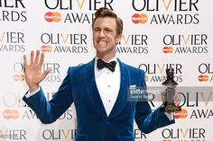 Gavin Creel, winner of the Best Actor in a Musical Award for 'The Book Of Mormon', poses in the press room at the Laurence Olivier Awards at The Royal Opera House on April 13, 2014 in London, England.