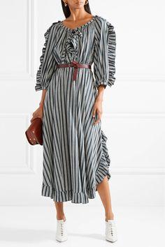 Sonia Rykiel | Ruffle-trimmed striped crepe midi dress | NET-A-PORTER.COM